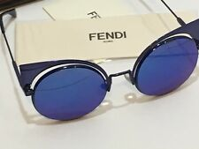 54c85a0ba7d1 FENDI EYESHINE FF0177S Lilac Blue Mirrored Metal Sunglasses Round Runway  0177