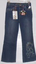 Bobby Jack Girls Embellished Plus Size Denim Jeans & Key Chain Blue 12 1/2 NWT