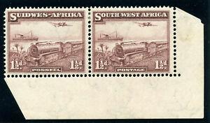 S.W.A. 1937 KGV 1½d purple-brown bilingual pair MLH. SG 96. Sc 110.