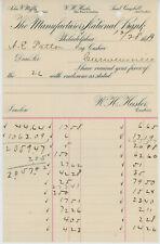 1889 Manufacturers National Bank Letterhead Account Statement Philadelphia PA