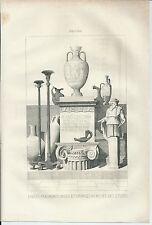 1836 VASI BRONZI MUSEO STUDI NAPOLI acquaforte originale Italie Pittoresque