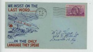 Mr Fancy Cancel WW II Patriotic We insist on the last word blue 9973 '45 #3058