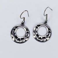 Sterling Silver 925 Filigree Puffy Circle Earrings Vintage TM-88 Mexico