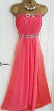 MONSOON size 10 silk strapless pink maxi summer holiday occasion wedding dress M