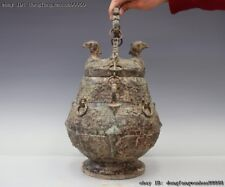 Chinese Old Royal Palace Dynasty Pure Bronze Bird Birds Beast Kettle Pot Bottle