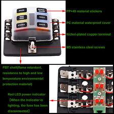 6 Way Blade Fuse Box Holder LED Warning Light Kit for Car Boat Trike 32V*12 Fuse