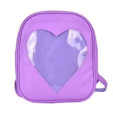 Girls Transparent Heart Shaped Backpack School Bag Travel Hiking Bag 6 Colors