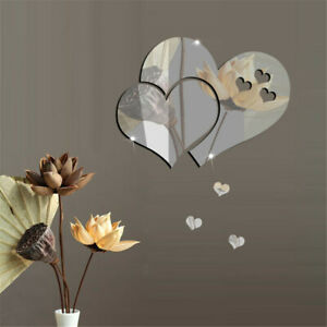 3D Mirror Love Hearts Wall Sticker DIY Home Room Removable Art Mural Decor Decal