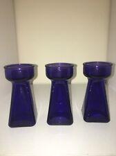 3 Cobalt Blue/Amethyst Forcing Bulb Vases Amaryllis-hyacinth-daffodil-crocus NEW