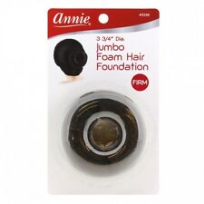 "ANNIE 3 3/4"" DIAMETER JUMBO FOAM HAIR FOUNDATION BLACK #3288 DONUT/BUN"