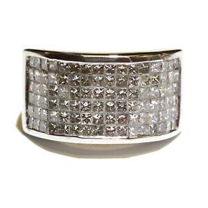 14k white gold 3.6ct SI2 H mens princess invisible diamond ring 11.2g gents 10.5