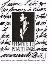 PUBLICITE ADVERTISING 034   1989   EMMANUELLE KAHN  à PARIS