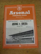 08/09/1953 Arsenal v Chelsea  (Neat Match Details Noted On Cover/Inside, Rusty S