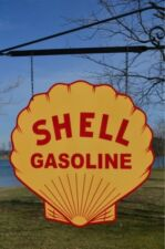 OLD STYLE SHELL MOTOR OIL GAS STATION STEEL DICUT 2SIDE SWINGER SIGN MADE IN USA