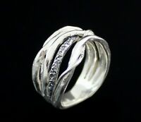 Sterling Silver Wide Artisian Art Nouveau Style Vine Ring Band Size 6 Or 7