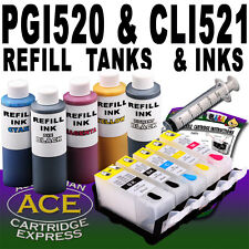 5 Refill Inkjet Tanks Auto Reset Chip & 5 Inks kit. Fits Canon PGI-520 CLI-521
