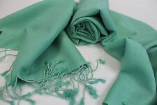 "P228 NWT Gorgeous Light Green Pashmina/Silk /Wrap 26"" x 72 Handmade In Nepal"