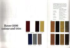 Rover 3500 SD1 Original Colour and Trim booklet Pub. No. 3206 not dated