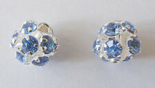 2 Silver Plated Light Metal Diamante  Beads - 10mm - Blue