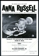1962 Anna Russell photo outer space art opera comedy gig booking trade print ad