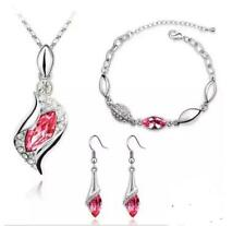3 Piece 18k White Gold Plated Pink Sapphire Jewelry Set
