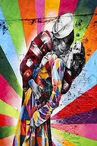 A0 SIZE CANVAS PRINT - GRAFFITI  NEW YORK CITY SAILOR KISS  STREET ART painting