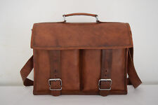 Real Leather Briefcase Satchel Crossbody Messenger Shoulder Bag 13x10""