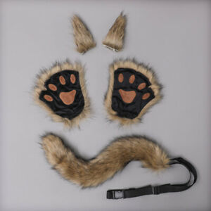 Kawaii Animal Wolf Cat Cosplay Props Set Furry Paw Gloves Hairpin Ears Long Tail