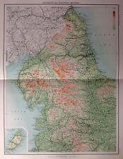 Características geográficas de Inglaterra e Gales 1 antiguo mapa c1898 Bartolomé grandes