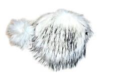 Jennifer & Company Faux Fur Women Shoulder Round Bag with Keychain, White/Black