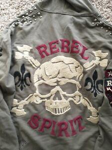 Rebel Spirit Goth Skull Biker Army Green Hoodie Embroidered Jacket 2XL Studs