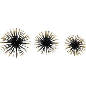 Metal Wall Art Home Decor 3D Set of 3 Starburst Urchin Pom Atomic MCM Gold Tip