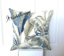 NEW  Tommy Bahama Blue,Brown,Grey,Cream Tropical Palm Leaf 45 Cm Cushion Cover