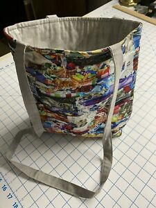 Tote Bag-Kitties Playing in the Fabric-Machine Quilted