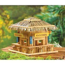 grass roof beach hut happy hour tiki bar wood fairy house BIRD FEEDER birdhouse