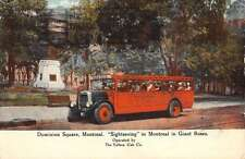 Dominion Square Montreal Sightseeing Bus Street View Antique Postcard K60999