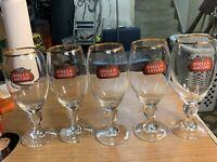 5 STELLA ARTOIS (BELGIUM) 40CL (13.5 OZ)  CHALICE STEM BEER GLASS Gold Rim