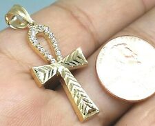 """GOLD Ankh Cross pendant 14k real solid simulated diamond Charm 1.7g 1.50"""""""