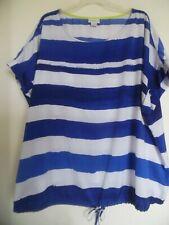 ed791faba Liz Claiborne a Rayas Blanco Azul Manga Corta Blusa Camisa Top Tamaño 2X