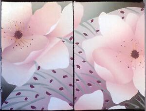"""Nancy Denison """"Fantasm"""" Hand Signed Diptych Serigraph japon paper Fine Art 1982"""