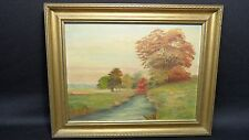 Vintage Oil Painting Of Landscape  fall with trees and water Signed Ginnelli