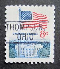 Sc # 1338F ~ 8 cent Flag and White House Issue, Precancel, THOMPSON, OHIO