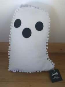 Thro by Marlo Lorenz Halloween Pom Pom Ghost Throw Pillow 15x10