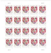 Quilled Paper Heart Scott 5036 Forever 2016 Postage Stamps, Sheet of 20