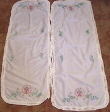 Vintage Pair Table Runners Embroidered Flowers in Red Wreath