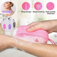 Silicone Bath Shower Body Back Skin Brush Scrubber Wash Double Towel Spa Massage