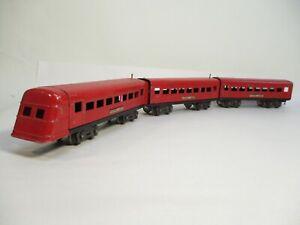 Lionel 1673, 1674, 1675 Jr Streamline Cars Red Prewar O Gauge X7186