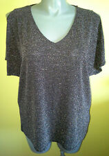 Ladies Womens Short Sleeve Evening Blouse Shirt Top Silver Black Millers Size 20