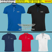 Aston Martin Slim Fit Polo T Shirt EMBROIDERED Auto Car Logo Mens Gift Clothing