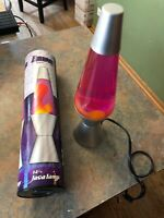 """14 1/2"""" Lava Lamp Brushed Silver Base & Top with Purple Liquid Yellow Lava"""